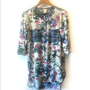 Fig and Flower boho long floral tunic